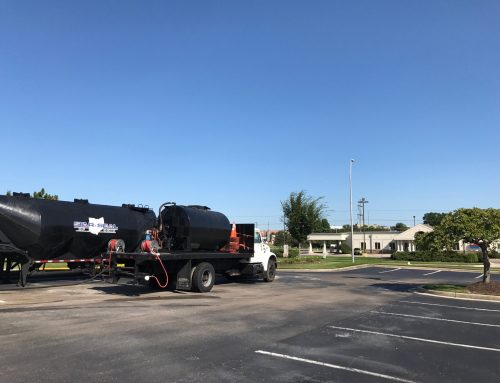 4,000 gallons of asphalt sealer going down today in Fairborn OH # AsphaltSealingOH
